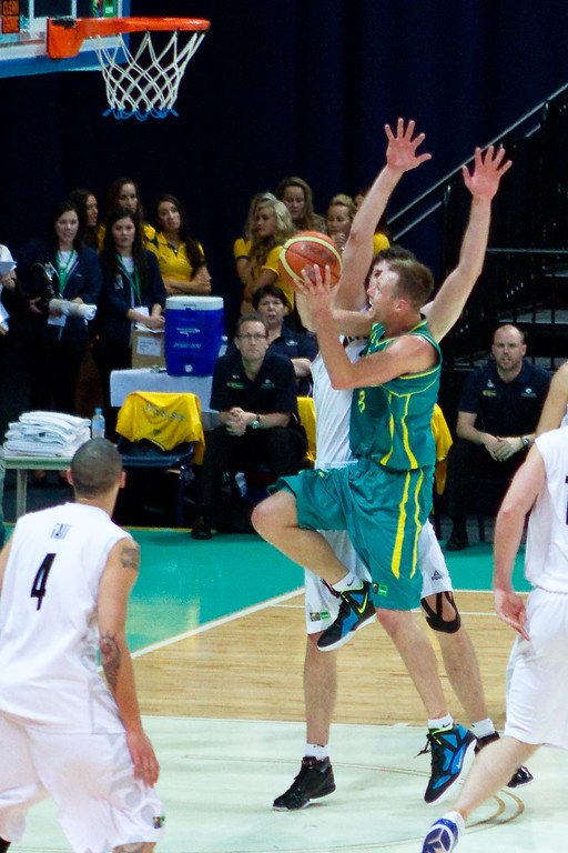 "Brad Newley, Alex Pledger - Australian Boomers v New Zealand Tall Blacks FIBA Oceania Championship International Men's Basketball, Brisbane Entertainment Centre, Boondall, Brisbane, Queensland, Australia; 9 September 2011. Photos by Des Thureson:  <a href=""http://disci.smugmug.com"">http://disci.smugmug.com</a>."