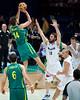 "Casey Frank, Matthew Nielsen - Australian Boomers v New Zealand Tall Blacks FIBA Oceania Championship International Men's Basketball, Brisbane Entertainment Centre, Boondall, Brisbane, Queensland, Australia; 9 September 2011. Photos by Des Thureson:  <a href=""http://disci.smugmug.com"">http://disci.smugmug.com</a>."