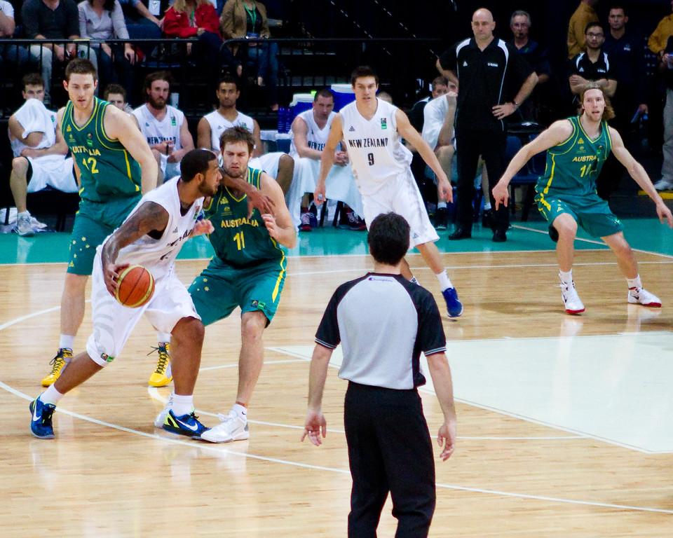 "BJ Anthony, Mark Worthington - Australian Boomers v New Zealand Tall Blacks FIBA Oceania Championship International Men's Basketball, Brisbane Entertainment Centre, Boondall, Brisbane, Queensland, Australia; 9 September 2011. Photos by Des Thureson:  <a href=""http://disci.smugmug.com"">http://disci.smugmug.com</a>."