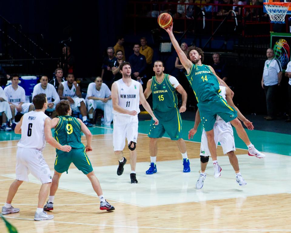 "Matthew Nielsen, Mika Vukona - Australian Boomers v New Zealand Tall Blacks FIBA Oceania Championship International Men's Basketball, Brisbane Entertainment Centre, Boondall, Brisbane, Queensland, Australia; 9 September 2011. Photos by Des Thureson:  <a href=""http://disci.smugmug.com"">http://disci.smugmug.com</a>."