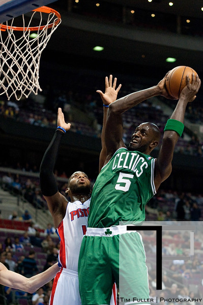 Nov 18, 2012; Auburn Hills, MI, USA; Boston Celtics power forward Kevin Garnett (5) during the first quarter against the Detroit Pistons at The Palace. Mandatory Credit: Tim Fuller-US PRESSWIRE