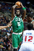 Nov 18, 2012; Auburn Hills, MI, USA; Boston Celtics power forward Kevin Garnett (5) during the second quarter against the Detroit Pistons at The Palace. Mandatory Credit: Tim Fuller-US PRESSWIRE