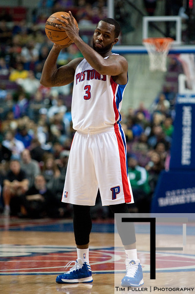 Nov 18, 2012; Auburn Hills, MI, USA; Detroit Pistons point guard Rodney Stuckey (3) during the fourth quarter against the Boston Celtics at The Palace. Detroit won 103-83. Mandatory Credit: Tim Fuller-US PRESSWIRE
