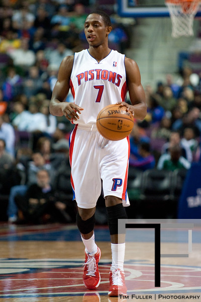 Nov 18, 2012; Auburn Hills, MI, USA; Detroit Pistons point guard Brandon Knight (7) during the third quarter against the Boston Celtics at The Palace. Detroit won 103-83. Mandatory Credit: Tim Fuller-US PRESSWIRE