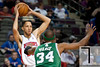 Nov 18, 2012; Auburn Hills, MI, USA; Boston Celtics small forward Paul Pierce (34) guards Detroit Pistons small forward Tayshaun Prince (22) during the third quarter at The Palace. Detroit won 103-83. Mandatory Credit: Tim Fuller-US PRESSWIRE