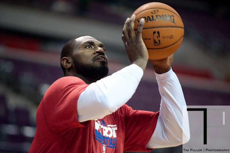 Nov 18, 2012; Auburn Hills, MI, USA; Detroit Pistons power forward Jason Maxiell (54) warms up before the game against the Boston Celtics at The Palace. Mandatory Credit: Tim Fuller-US PRESSWIRE