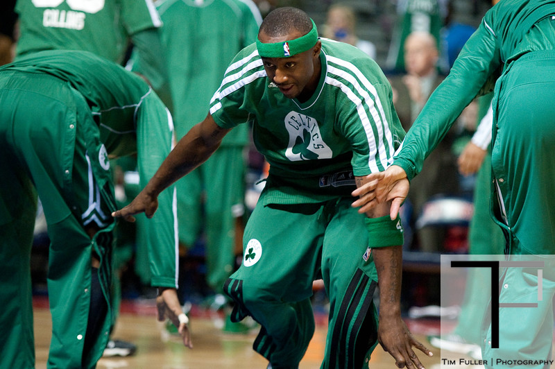 Nov 18, 2012; Auburn Hills, MI, USA; Boston Celtics shooting guard Jason Terry (4) high fives teammates at the before the game against the Detroit Pistons at The Palace. Mandatory Credit: Tim Fuller-US PRESSWIRE