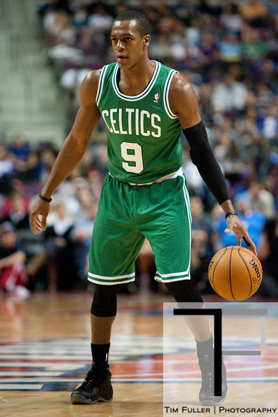 Nov 18, 2012; Auburn Hills, MI, USA; Boston Celtics point guard Rajon Rondo (9) during the first quarter against the Detroit Pistons at The Palace. Mandatory Credit: Tim Fuller-US PRESSWIRE