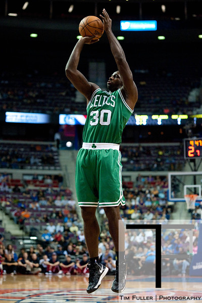 Nov 18, 2012; Auburn Hills, MI, USA; Boston Celtics power forward Brandon Bass (30) shoots during first quarter against the Detroit Pistons the at The Palace. Mandatory Credit: Tim Fuller-US PRESSWIRE