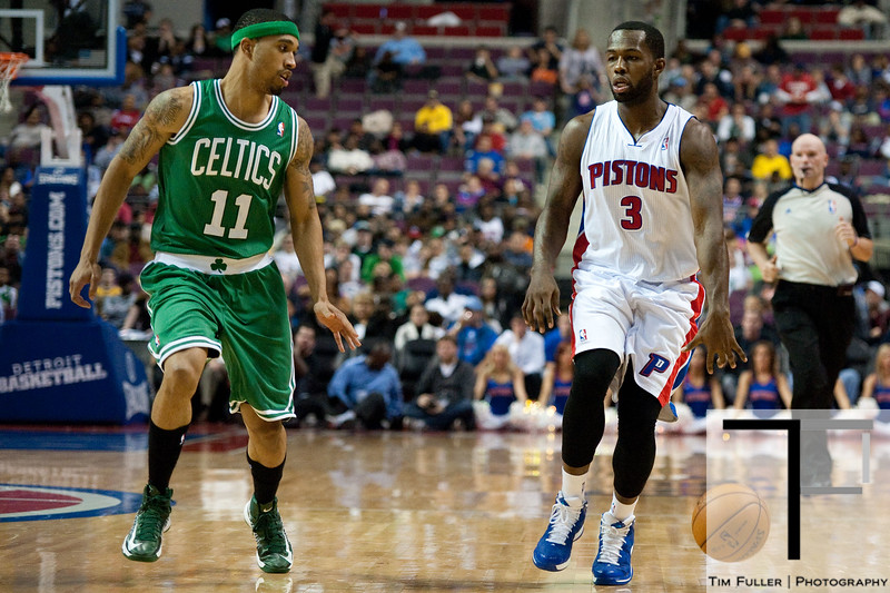 Nov 18, 2012; Auburn Hills, MI, USA; Boston Celtics shooting guard Courtney Lee (11) guards Detroit Pistons point guard Rodney Stuckey (3) during the third quarter at The Palace. Detroit won 103-83. Mandatory Credit: Tim Fuller-US PRESSWIRE