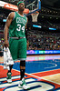 Nov 18, 2012; Auburn Hills, MI, USA; Boston Celtics small forward Paul Pierce (34) leaves the game early during the fourth quarter against the Detroit Pistons at The Palace. Detroit won 103-83. Mandatory Credit: Tim Fuller-US PRESSWIRE