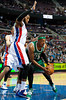 Nov 18, 2012; Auburn Hills, MI, USA; Detroit Pistons center Greg Monroe (10) guards Boston Celtics small forward Paul Pierce (34) during the second quarter at The Palace. Mandatory Credit: Tim Fuller-US PRESSWIRE