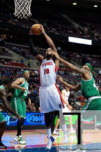 Nov 18, 2012; Auburn Hills, MI, USA; Detroit Pistons center Greg Monroe (10) goes to the basket during the third quarter against the Boston Celtics at The Palace. Detroit won 103-83. Mandatory Credit: Tim Fuller-US PRESSWIRE