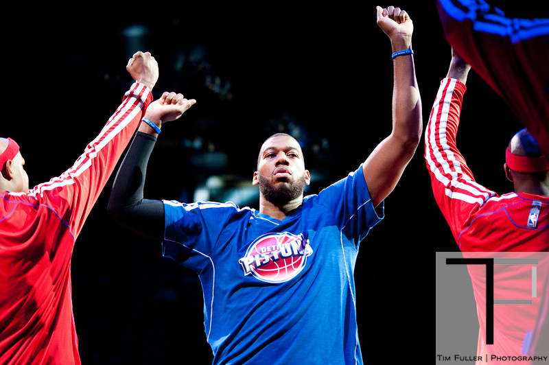 Nov 18, 2012; Auburn Hills, MI, USA; Detroit Pistons center Greg Monroe (10) high fives teammates before the game against the Boston Celtics at The Palace. Mandatory Credit: Tim Fuller-US PRESSWIRE
