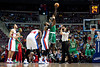 Nov 18, 2012; Auburn Hills, MI, USA; Boston Celtics power forward Kevin Garnett (5) and Detroit Pistons center Greg Monroe (10) jump for the tip off during the first quarter at The Palace. Mandatory Credit: Tim Fuller-US PRESSWIRE