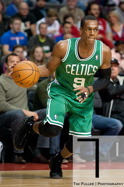 Nov 18, 2012; Auburn Hills, MI, USA; Boston Celtics point guard Rajon Rondo (9) drives to the basket against the Detroit Pistons during the first quarter at The Palace. Mandatory Credit: Tim Fuller-US PRESSWIRE