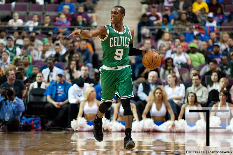 Nov 18, 2012; Auburn Hills, MI, USA; Boston Celtics point guard Rajon Rondo (9) brings the ball up court during the first quarter against the Detroit Pistons at The Palace. Mandatory Credit: Tim Fuller-US PRESSWIRE
