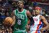 Nov 18, 2012; Auburn Hills, MI, USA; Boston Celtics power forward Jeff Green (8) goes to the basket during the second quarter against the Detroit Pistons at The Palace. Mandatory Credit: Tim Fuller-US PRESSWIRE