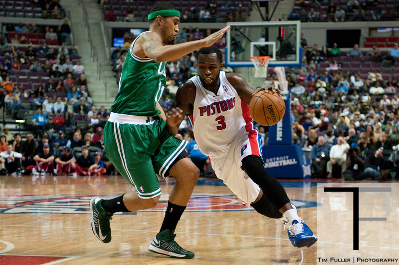 Nov 18, 2012; Auburn Hills, MI, USA; Detroit Pistons point guard Rodney Stuckey (3) drives to the basket against Boston Celtics shooting guard Courtney Lee (11) during the fourth quarter at The Palace. Detroit won 103-83. Mandatory Credit: Tim Fuller-US PRESSWIRE