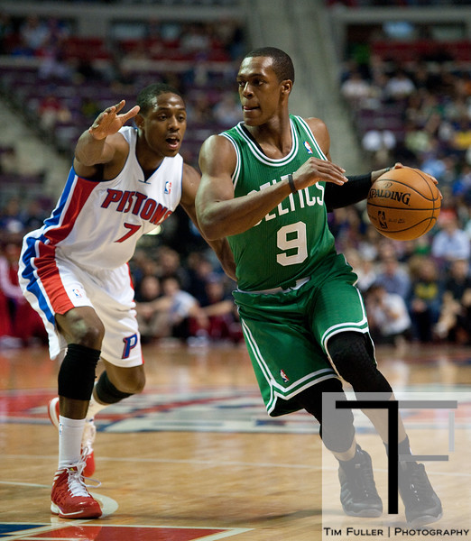 Nov 18, 2012; Auburn Hills, MI, USA; Boston Celtics point guard Rajon Rondo (9) drives to the basket against Detroit Pistons point guard Brandon Knight (7)during the first quarter at The Palace. Mandatory Credit: Tim Fuller-US PRESSWIRE