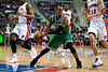 Nov 18, 2012; Auburn Hills, MI, USA; Boston Celtics point guard Rajon Rondo (9) looks to pass during the second quarter against the Detroit Pistons at The Palace. Mandatory Credit: Tim Fuller-US PRESSWIRE