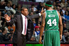 Nov 18, 2012; Auburn Hills, MI, USA; Boston Celtics head coach Doc Rivers talks to Boston Celtics power forward Chris Wilcox (44) during the first quarter against the Detroit Pistons at The Palace. Mandatory Credit: Tim Fuller-US PRESSWIRE