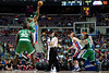 Nov 18, 2012; Auburn Hills, MI, USA; Boston Celtics shooting guard Jason Terry (4) and Detroit Pistons point guard Brandon Knight (7) jump for the tip off during the third quarter at The Palace. Detroit won 103-83. Mandatory Credit: Tim Fuller-US PRESSWIRE