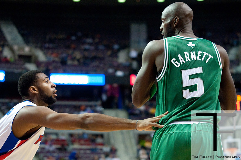 Nov 18, 2012; Auburn Hills, MI, USA; Detroit Pistons center Andre Drummond (1) guards Boston Celtics power forward Kevin Garnett (5) during the second quarter at The Palace. Mandatory Credit: Tim Fuller-US PRESSWIRE