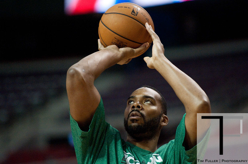 Nov 18, 2012; Auburn Hills, MI, USA; Boston Celtics power forward Chris Wilcox (44) warms up before the game against the Detroit Pistons at The Palace. Mandatory Credit: Tim Fuller-US PRESSWIRE
