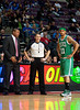 Nov 18, 2012; Auburn Hills, MI, USA; Boston Celtics head coach Doc Rivers (left) and shooting guard Courtney Lee (11) talk to NBA referee Scott Foster (center) during the third quarter against the Detroit Pistons at The Palace. Detroit won 103-83. Mandatory Credit: Tim Fuller-US PRESSWIRE
