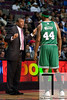 Nov 18, 2012; Auburn Hills, MI, USA; Boston Celtics head coach Doc Rivers (left) talks to power forward Chris Wilcox (44) during the first quarter against the Detroit Pistons at The Palace. Mandatory Credit: Tim Fuller-US PRESSWIRE