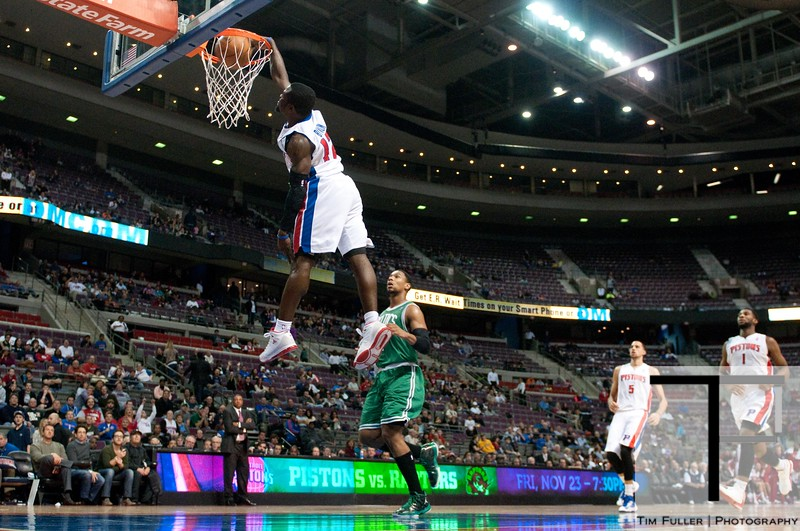 Nov 18, 2012; Auburn Hills, MI, USA; Detroit Pistons point guard Will Bynum (12) slam dunks during the fourth quarter against the Boston Celtics at The Palace. Detroit won 103-83. Mandatory Credit: Tim Fuller-US PRESSWIRE
