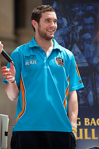 Former Brisbane Bullet & current Gold Coast Blaze and Australian Boomers player Adam Gibson - Bring Back the Bullets Promotion, King George Square, Brisbane, Queensland. Photos by Des Thureson:  http://disci.smugmug.com.