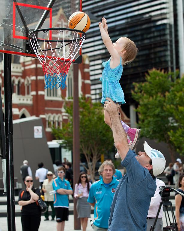 """Scorers Keep"" - Bring Back the Bullets Promotion, King George Square, Brisbane, Queensland. Photos by Des Thureson:  <a href=""http://disci.smugmug.com"">http://disci.smugmug.com</a>."