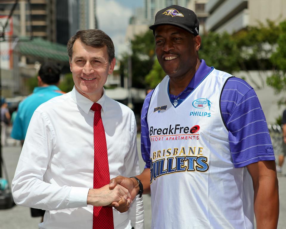 "Leroy Loggins, Brisbane Lord Mayor Graham Quirk - Bring Back the Bullets Promotion, King George Square, Brisbane, Queensland. Photos by Des Thureson:  <a href=""http://disci.smugmug.com"">http://disci.smugmug.com</a>."