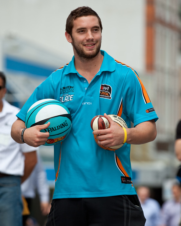 """Former Brisbane Bullet & current Gold Coast Blaze and Australian Boomers player Adam Gibson - Bring Back the Bullets Promotion, King George Square, Brisbane, Queensland. Photos by Des Thureson:  <a href=""""http://disci.smugmug.com"""">http://disci.smugmug.com</a>."""