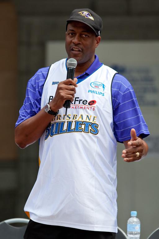 "Leroy Loggins - Bring Back the Bullets Promotion, King George Square, Brisbane, Queensland. Photos by Des Thureson:  <a href=""http://disci.smugmug.com"">http://disci.smugmug.com</a>."