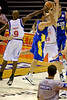 Willie Farley blocks Sam Mackinnon, but the foul was called - Brisbane Bullets v Adelaide 36ers 4-2-2006
