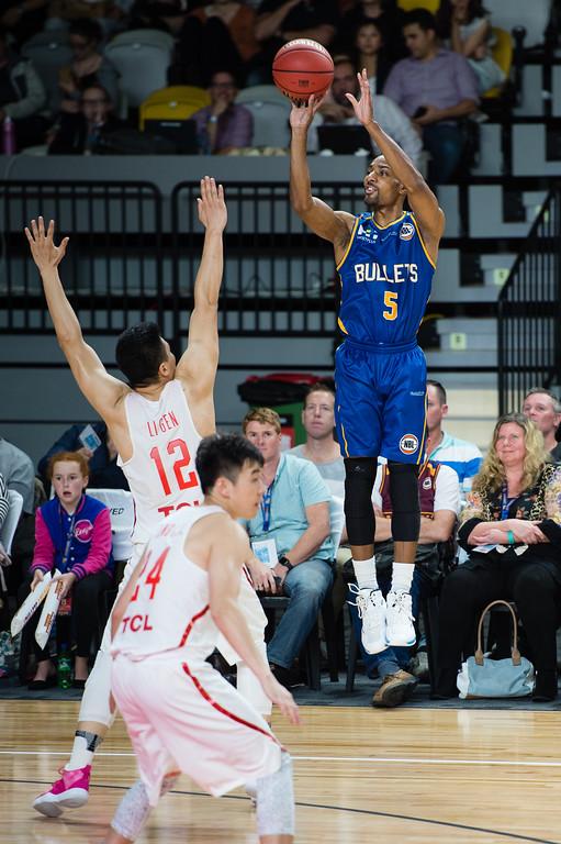 "Lance Hurdle - Brisbane Bullets Basketball v Chinese National Men's Basketball Team, Gold Coast Sports & Leisure Centre, Carrara, Gold Coast, Queensland, Australia; Tuesday 18 July 2017. Photos by Des Thureson - <a href=""http://disci.smugmug.com"">http://disci.smugmug.com</a>"