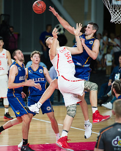 Daniel Kickert, Han Dejun - Brisbane Bullets Basketball v Chinese National Men's Basketball Team, Gold Coast Sports & Leisure Centre, Carrara, Gold Coast, Queensland, Australia; Tuesday 18 July 2017. Photos by Des Thureson - http://disci.smugmug.com