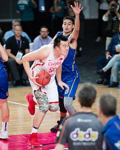 Han Dejun - Brisbane Bullets Basketball v Chinese National Men's Basketball Team, Gold Coast Sports & Leisure Centre, Carrara, Gold Coast, Queensland, Australia; Tuesday 18 July 2017. Photos by Des Thureson - http://disci.smugmug.com