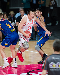 Han Dejun - Brisbane Bullets Basketball v Chinese National Men's Basketball Team, Gold Coast Sports & Leisure Centre, Carrara, Gold Coast, Queensland, Australia; Tuesday 18 July 2017. Photos by Des Thureson - http://disci.smugmug.com