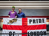 "London Lions fans with ""Pride of London"" flag at the Copperbox, Olympic Park"