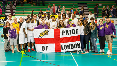 London Lions Fans and Team after the game vs. Manchester Giants