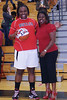 Quay Barrino reciving her commemoration for scoring 1000 career points.