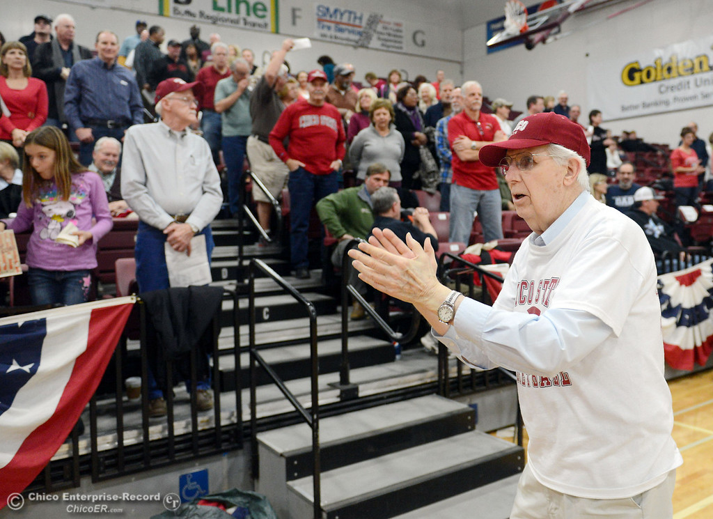 . Chico State fans cheer on against Cal State Dominguez Hills in the first half of their men\'s basketball game at CSUC Acker Gym Friday, January 10, 2014 in Chico, Calif.  (Jason Halley/Chico Enterprise-Record)