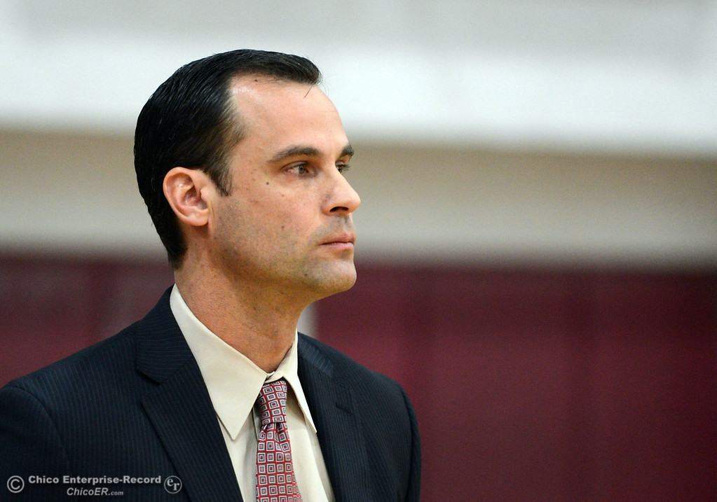 . Chico State coach Greg Clink looks on against Cal State Dominguez Hills in the first half of their men\'s basketball game at CSUC Acker Gym Friday, January 10, 2014 in Chico, Calif.  (Jason Halley/Chico Enterprise-Record)
