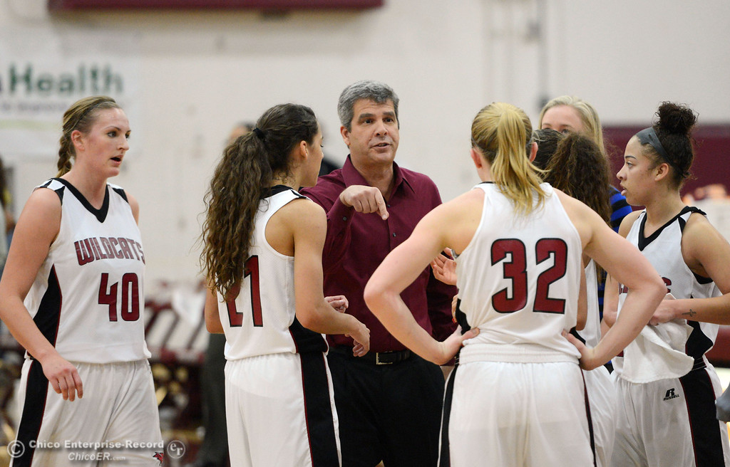 . Chico State head coach Brian Fogel (center) talks to the team during a timeout against Cal State Dominguez Hills in the second half of their women\'s basketball game at CSUC Acker Gym Friday, January 10, 2014 in Chico, Calif.  (Jason Halley/Chico Enterprise-Record)