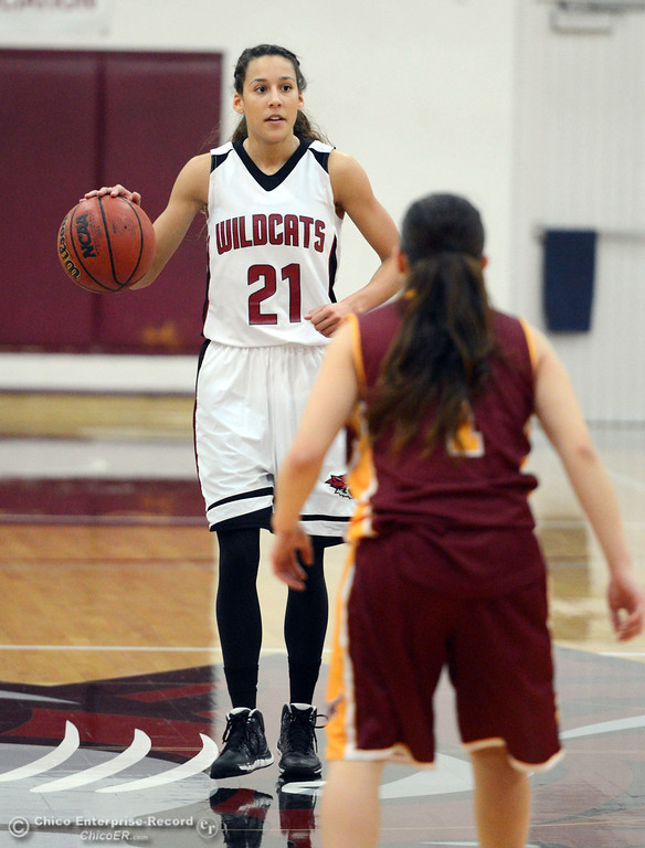 . Chico State\'s #21 Courtney Hamilton (left) dribbles against Cal State Dominguez Hills\' #1 Breanne Garcia (right) in the second half of their women\'s basketball game at CSUC Acker Gym Friday, January 10, 2014 in Chico, Calif.  (Jason Halley/Chico Enterprise-Record)