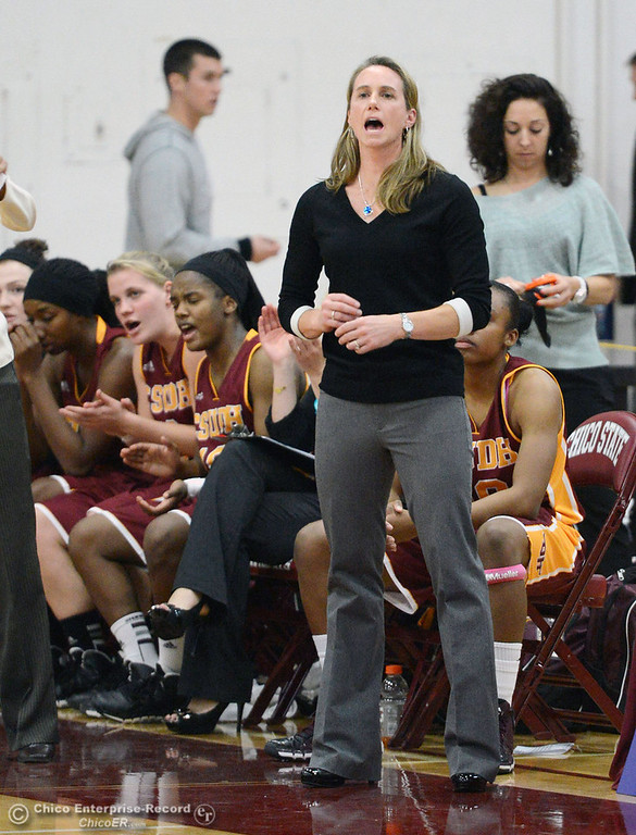 . Chico State against Cal State Dominguez Hills coach Molly Goodenbour in the second half of their women\'s basketball game at CSUC Acker Gym Friday, January 10, 2014 in Chico, Calif.  (Jason Halley/Chico Enterprise-Record)